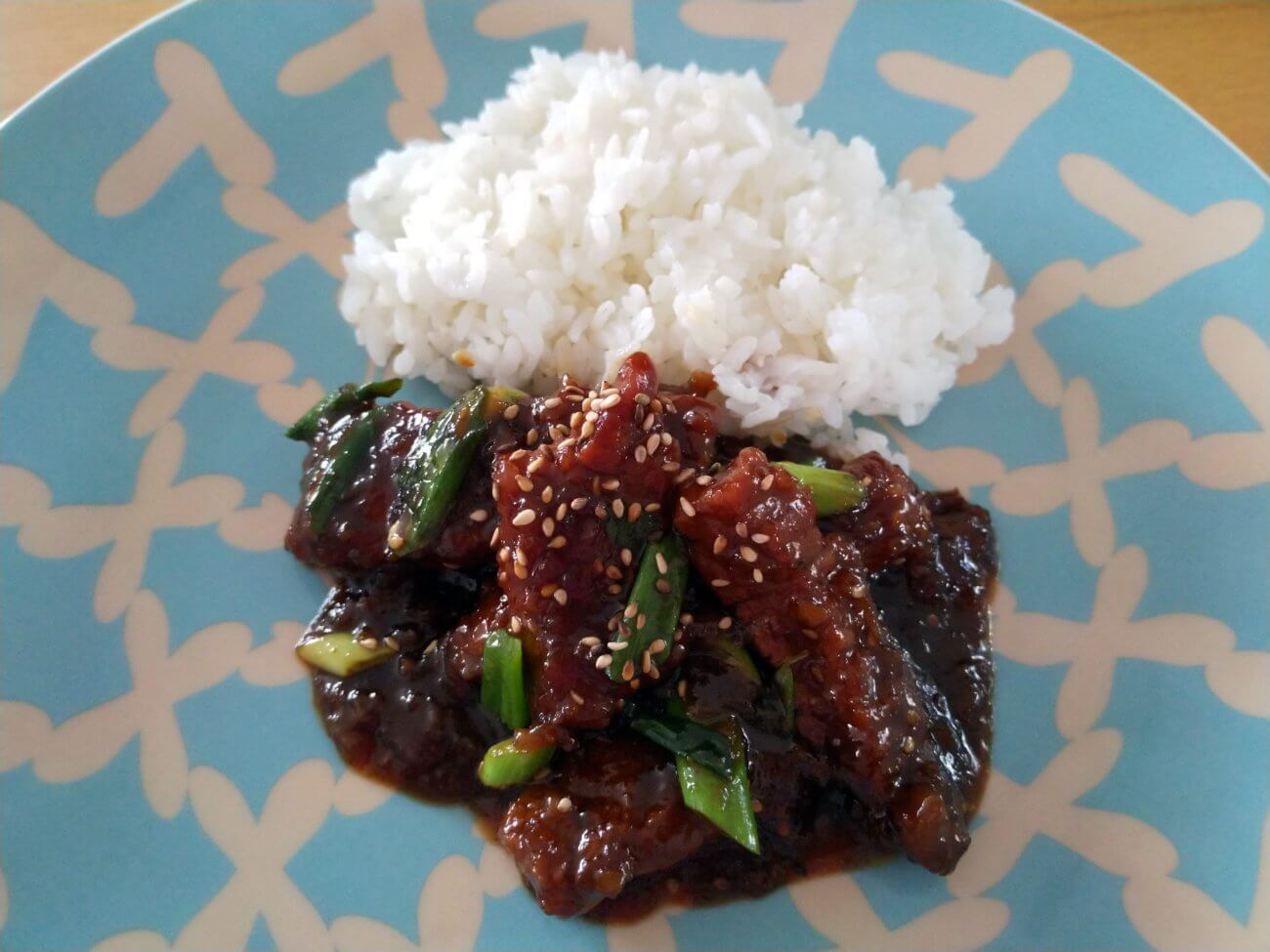 mongolisches Rindfleisch in Sojasauce